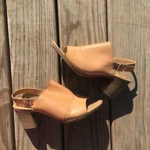 Sophia Milano tan leather ankle strap heel sandals